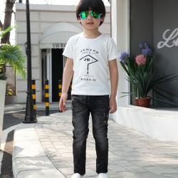 健博贝儿 2018童装男童夏装套装新款韩版儿童夏季牛仔两件套TZ1410
