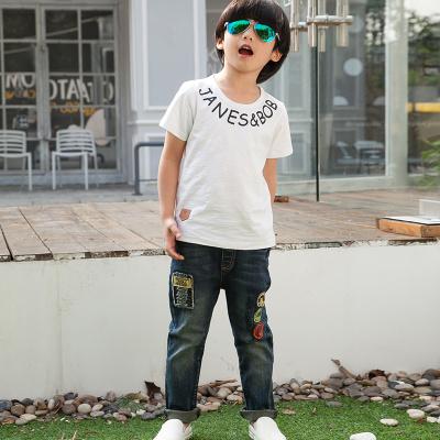 健博贝儿 2018童装男童夏装套装新款韩版儿童夏季牛仔两件套TZ1113