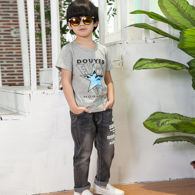 健博贝儿 2018童装男童夏装套装新款韩版儿童夏季牛仔两件套TZ1706