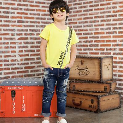 健博贝儿 2018男童新款夏季男孩牛仔裤黄色短袖套装TZ1008