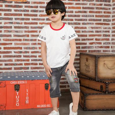 健博贝儿 2018男童夏季套装新款中大童短袖牛仔短裤两件套6817002