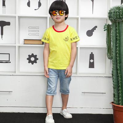 健博贝儿 2018新款儿童短袖中大童男孩牛仔短裤夏季两件套6817008