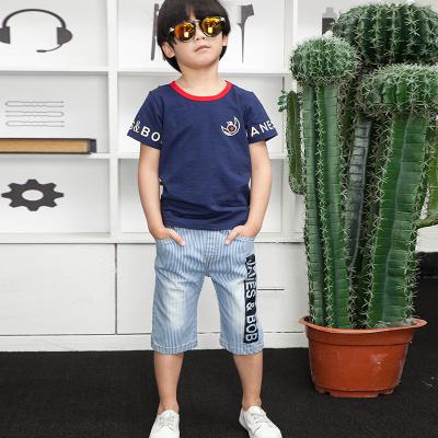 健博贝儿 2018男童夏季套装新款中大童短袖牛仔短裤两件套6817003