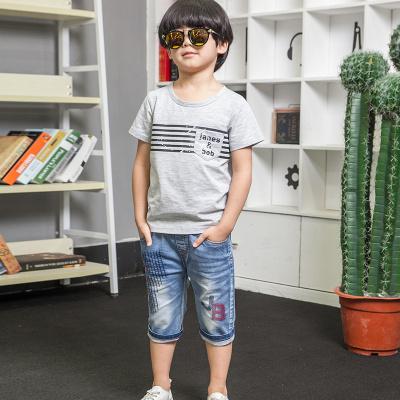 健博贝儿 2018童装男童夏装套装新款中大童牛仔儿童短袖两件套6817001