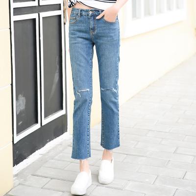 裤购 新款韩版牛仔女长裤弹力裤子显瘦直筒裤潮时尚个性牛仔裤 ILJA 2116