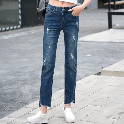 裤购 新款韩版牛仔女长裤弹力裤子显瘦直筒裤潮时尚个性牛仔裤 ILJA2036
