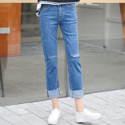 裤购 新款韩版牛仔女长裤弹力裤子显瘦直筒裤潮时尚个性牛仔裤 ILJA2105