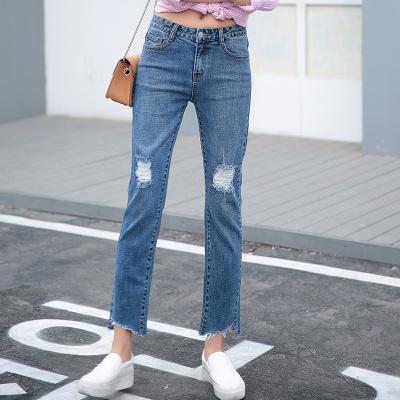 裤购新款韩版牛仔女长裤弹力裤子显瘦直筒裤潮 时尚女装个性牛仔裤 ILJA7823