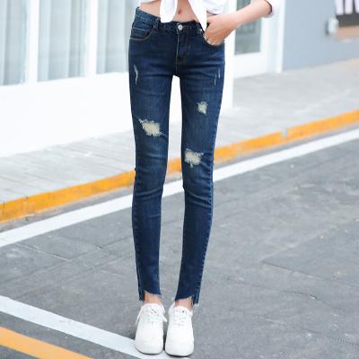 裤购 时尚女装个性牛仔裤新款韩版牛仔女长裤弹力裤子显瘦直筒裤潮 SKINNY 2114