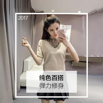 素裁 2017夏款欧洲站新款韩版显瘦V领套头宽松短袖针织衫修身女 8362
