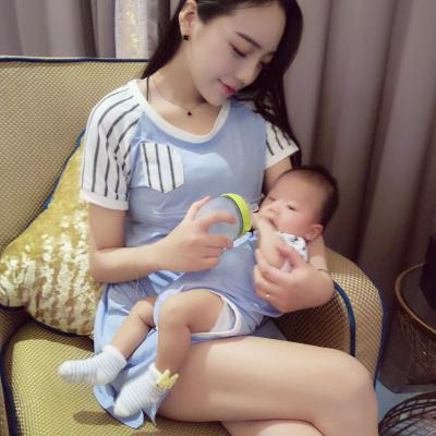 卓依佳 2017新款春夏装装韩版全家装母女连衣裙长袖t恤舒适时尚亲子装 QZ1608