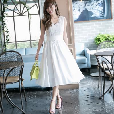 恩黛 2017新款夏装 长款仙女绣花蕾丝雪纺连衣裙 Q047F6643
