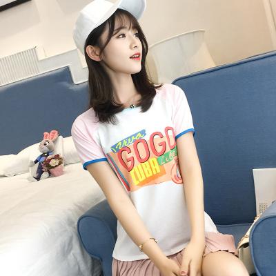 J.S.YU 2017新款coco上衣字母短袖T恤女韩版夏季白色半袖学生宽松体恤上衣 JS7A135