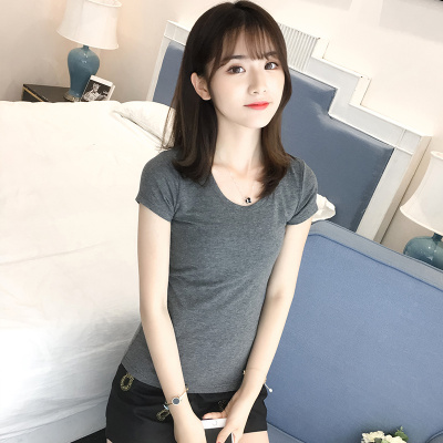 J.S.YU 2017新款纯棉t恤女短袖圆领修身半袖上衣百搭打底衫 JS7A136