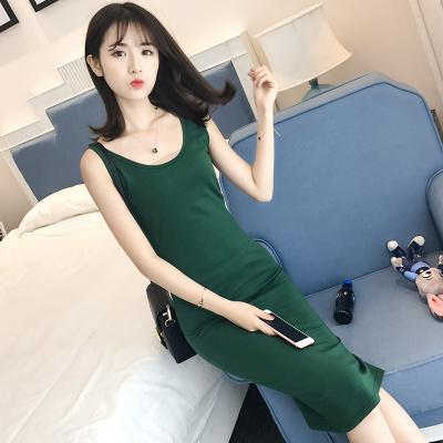 J.S.YU 2018新款韩版修身性感圆领中长款针织春秋亮丝打底衫背心女 JS7A154