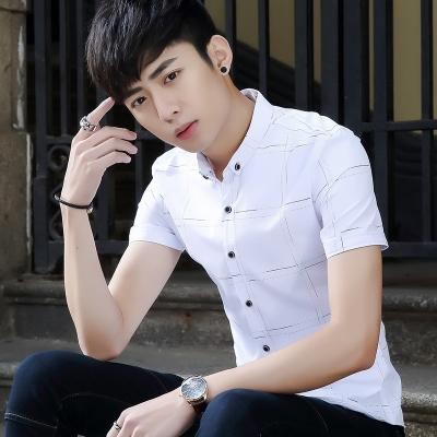 艾菲尔 潮男短袖T恤 2017夏季新款韩版修身时尚体恤衫学生青少年男装男装休闲衬衫 002