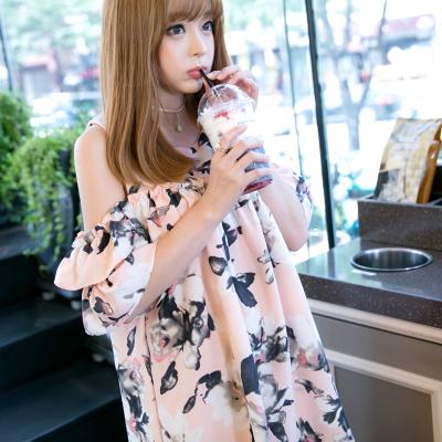 恩黛 实拍夏季新品厂家直销水墨花性感大码连衣裙 女Q047F6715