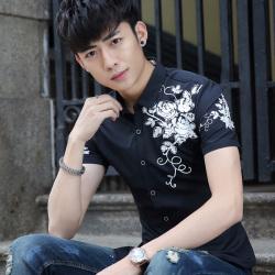 艾菲尔 2017夏季新款韩版修身时尚体恤衫学生青少年男装男装休闲衬衫 053