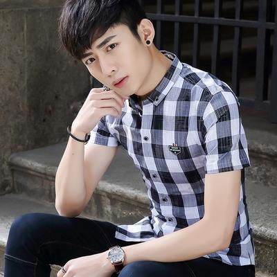 艾菲尔 2017夏季新款韩版修身时尚体恤衫学生青少年男装男装休闲衬衫 057