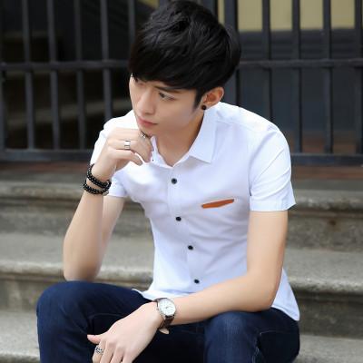 艾菲尔2017夏季新款韩版修身时尚白色体恤衫学生青少年男装休闲衬衫 087