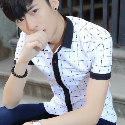 艾菲尔潮男短袖T恤 2017夏季新款韩版修身时尚体恤衫学生青少年男装 男装休闲衬衫 093
