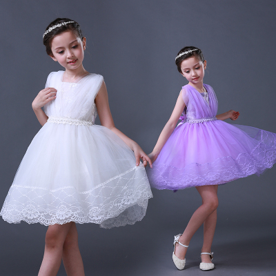 傲娃2017新品上新紫色白色纯色连衣裙产品童装女童连衣裙