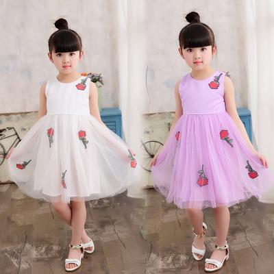 傲娃2017夏款新品上新玫瑰白色粉色镂空玫瑰连衣裙公主裙