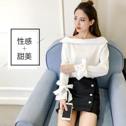 素裁 2017春季一字领白色雪纺衫衬衫女短款蝴蝶结长袖宽松打底上衣 0527
