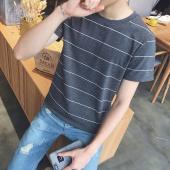阁调  2017男女新款夏装徽章条纹竹节棉短袖T恤休闲宽松T恤潮白搭  7103