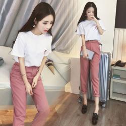 女人志 春装新款韩版小香风女两件套短袖休闲裤时尚学生修身套装044