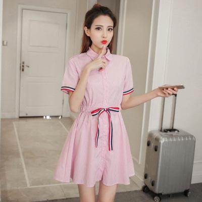 女人志 新款韩版学院风条纹衬衫裙松紧腰短袖连衣裙1101