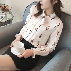 素裁 2017春季新款韩版系带蝴蝶结长袖衬衫 女打底雪纺衫上衣 潮 7158
