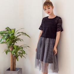 """蓝莓家 2017新款韩版女装夏季新款短袖套装裙<span class=""""gcolor"""">两件套</span>连衣裙 319"""