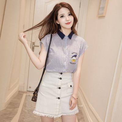 女人志 夏季韩版麻棉衬衫+牛仔口袋A字裙(套装)8658