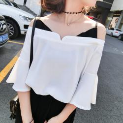女人志 2017春装新款女装夏季韩版上衣+阔腿裤两件套(套装)8801