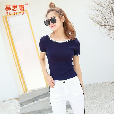 2017夏装新款韩版修身毛针织衫女打底衫圆领套头短袖上衣SY11832