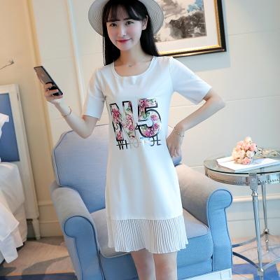 蓝莓家  2017新款韩版中长款短袖t恤女百搭连衣裙子潮  8812