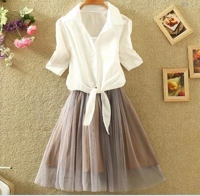 蓝莓家  2017新款短袖衬衫背心裙两件套套装修身蓬蓬公主蕾丝连衣裙   8337