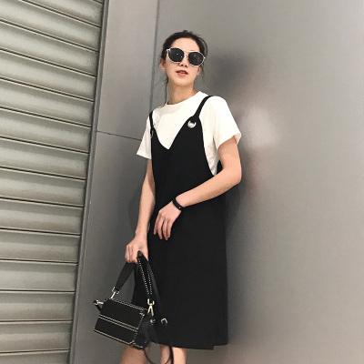 RY 2017新款四个扣子吊带纯色百搭韩版修身连衣裙 7106