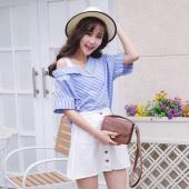 女人志 2017年夏季新款网纱拼接一字领衬衫+牛仔短裙子 8818