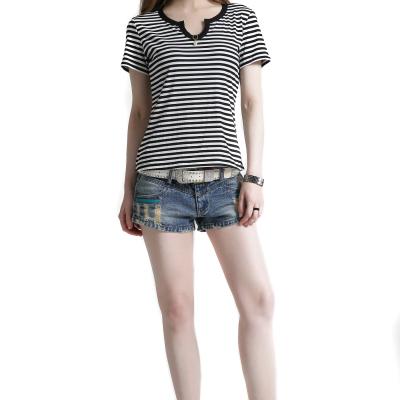 鸿秀 黑白条纹T恤女圆领短袖半袖体恤衫夏季春秋条纹628