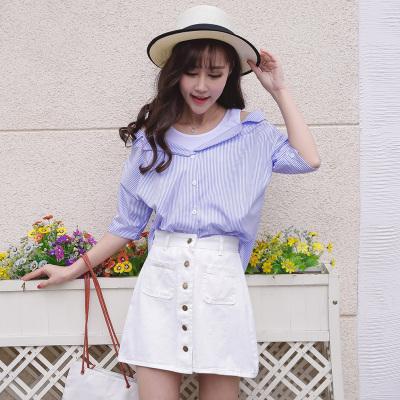 女人志 2017年夏季新款拼接一字领衬衫+牛仔短裙套装  8820