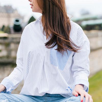 AE 韩版v领条纹蝴蝶结袖口宽松百搭气质长袖女衬衣 17001