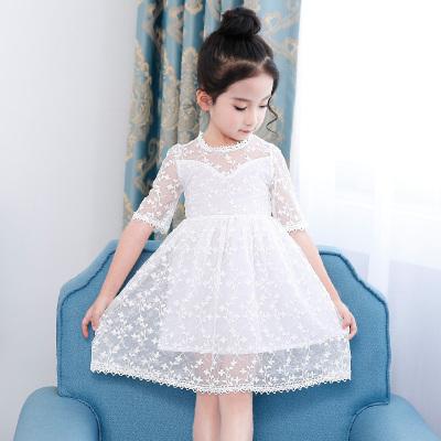 谦谦乐夏款童装表演裙 韩版外贸女童纯白色公主连衣裙 中大童裙子