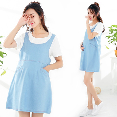 Enjoy Sleeping 孕妇装夏季短袖韩版有袋牛仔孕妇裙 ES17181