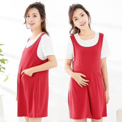 Enjoy Sleeping 孕妇装夏季短袖韩版有袋牛仔孕妇裙 ES17182