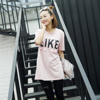 茱俐哆祺 2017春夏新款韩版字母圆领印花吊须短袖T恤 MJ1006#