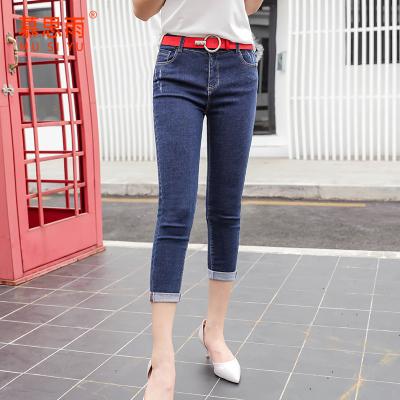 慕思雨2017春装新款韩版牛仔裤女八分裤弹力紧身小脚裤修身铅笔裤 MY17437