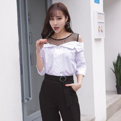 女人志 2017年夏季新款拼接一字领衬衫(单上衣) 7716