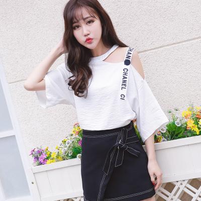 女人志 2017年夏季新款刺绣字母T恤+松紧腰格子不规则长裙子 套装 8813